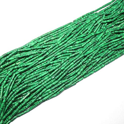 GemAbyss Beads Gemstone 5 Strand Synthetic Malachite Smooth Loose Tube Gemstone Craft Beads 12 Inch Long 15mm 17mm Code-MVG-25595