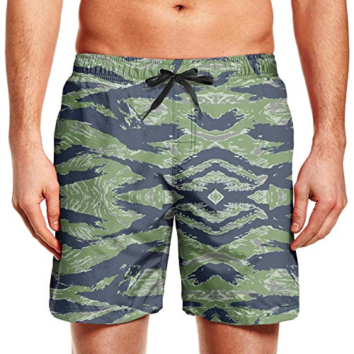 Tiger Stripe Camouflage Men's Beach Shorts Surf Swimming Breathable Board Short ()