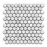 "Oriental White - Eastern White Marble 1"" Hexagon HONED Mosaic Tile - 6"" X 6"" Sample by Oracle Tile & Stone"