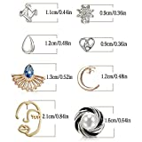 32 Pairs Assorted Stainless Steel Stud Earrings for Teens Girls Women-Cute Animal Faux Pearl Cat Elephant Sun Moon Star CZ Twise Heart Geometric Pattern Small Statement Bar Stud Earring Set