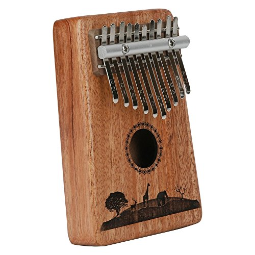 Kalimba Mbira Sanza 10 Keys Thumb Piano Portable Pocket Size Beginners Friendly Solid Finger Piano Mahogany Body Ore Metal Tines with Cruved Tree Elephant Deer and Giraffe by WANDIC