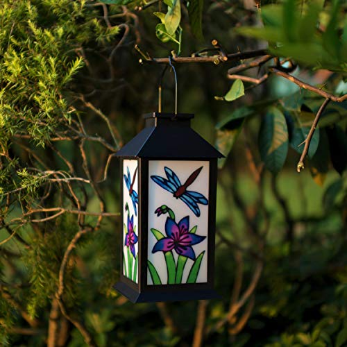 ExcMark Outdoor Solar Hanging Lantern Lights LED Decorative Lamp for Garden Patio Courtyard Lawn Table (Dragonfly). ()