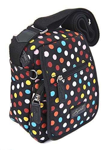 Spirit - Bolso cruzados para mujer Black & Coloured Dots