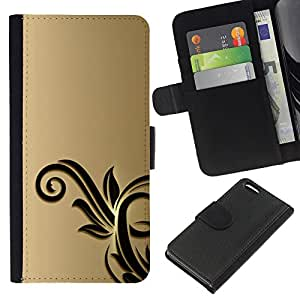 EJOY---La carpeta del tirón la caja de cuero de alta calidad de la PU Caso protector / Apple Iphone 5C / --Oro Negro Flores Floral