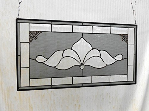 Traditional Vintage Look Victorian Stained Glass Panel Window Treatment with Bevel accents, Glass Window Valance, Stained Glass (Stained Glass Transom)