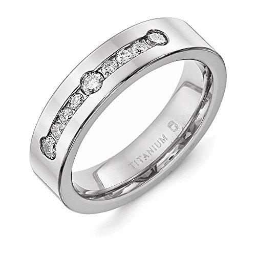 Jewelry Adviser Rings Titanium Polished 1/2 ct tw. Diamond 6mm Band Size 8.5