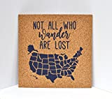 united states cork map - Not All Who Wander Are Lost Push Pin Cork Travel Map of the United States / Wanderlust Travel Gift / USA Bulletin Board / US Corkboard