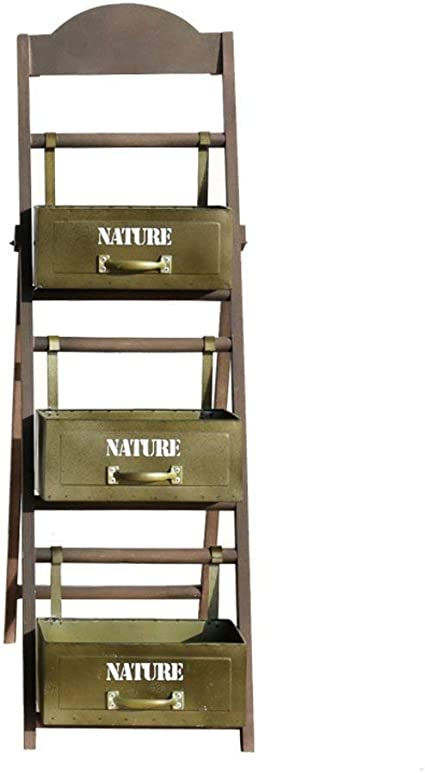 LQBDHJ - Soporte para macetas con Forma de Escalera para Plantas, de Hierro y Madera, diseño Retro, C: Amazon.es: Hogar