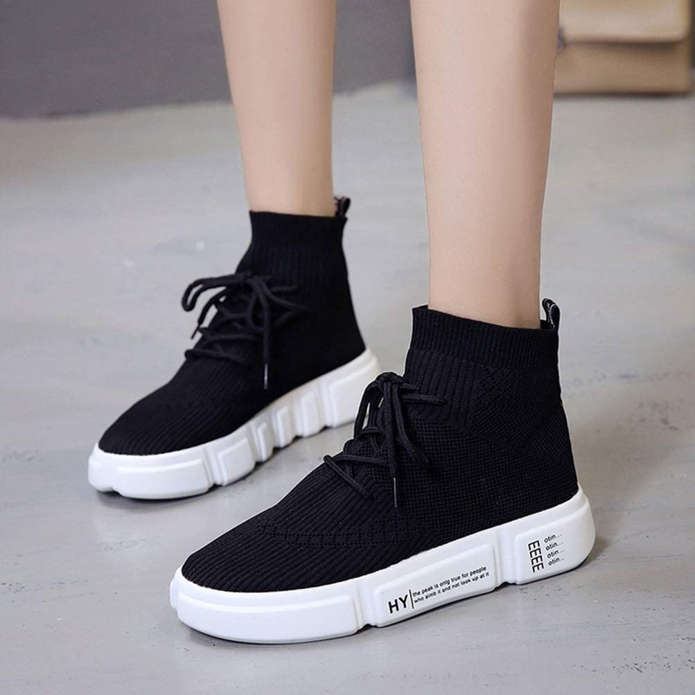 Femmes High Top Chaussettes Chaussures Plate-Forme Athlétique Chaussures Maille Respirant Cheville Sneakers Casual Sports Printemps Automne Mode Baskets Chaussures Noir