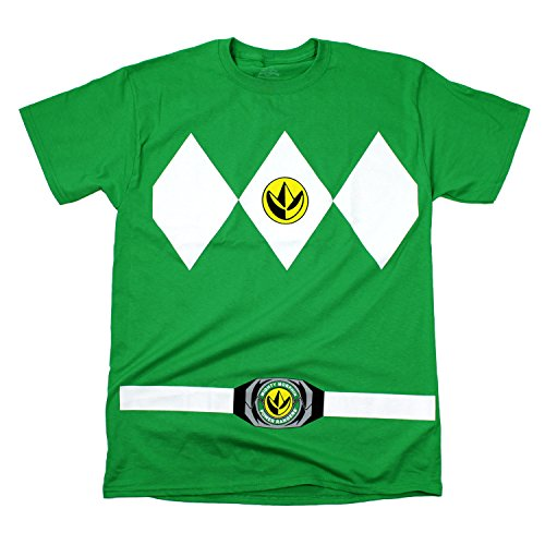 Power Green Ranger Costumes (Power Rangers Green Rangers Costume Adult T-shirt Tee)