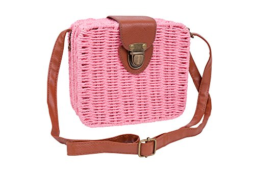 Emartbuy Linen Bag Square Wicker Wicker Pink Square Crossbody Floral Sling Retro Bag Shoulder with Bag Handbag qFgqxr