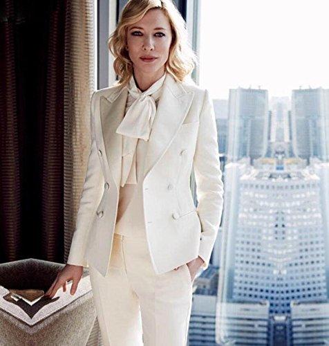 Costume Forme Slim Femme Pointe Costume De Fête De Mariage Blanc Cravate