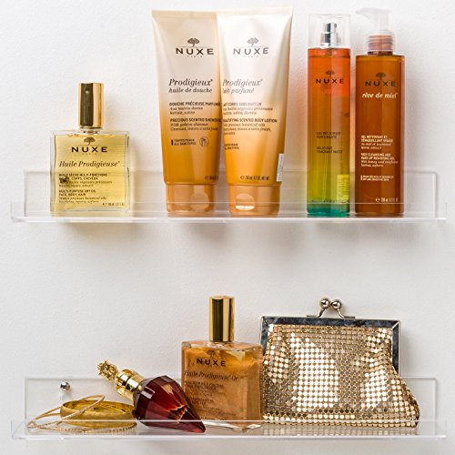 Acrylic Bathroom Shelves; Space Saving, Rustproof & Extra Strong, 15 x 3 inch Display Shelving (Set of 2) by Pretty Display - Easy to Wall Mount (House Glass Bathroom Shelf)