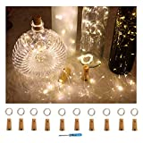 10 Pack Battery Operated Cork Lights-20 Led Copper Wine Bottles Fairy String lights for Garden, Patio Pathway Décor, Outdoor, DIY, Party, Wedding, Christmas, Halloween, Holiday Decorations (10, Warm White)