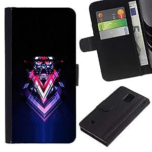 LASTONE PHONE CASE / Lujo Billetera de Cuero Caso del tirón Titular de la tarjeta Flip Carcasa Funda para Samsung Galaxy Note 4 SM-N910 / Abstract Sci Fi Neon Art