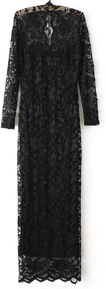 Fashion Ladies' V-neck Slim Scallop Neck Lace Women Maxi Dress Long Sleeve Wedding Evening Size:l Black G0123