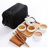 Chinese Ceramic Teaset, Teapot and Teacup, Tea Tray (White)