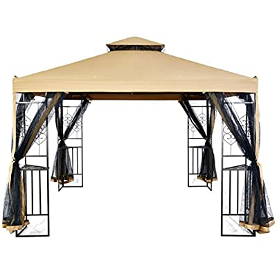 LCH Outdoor Party Gazebo with Cathedral Style Roof Mesh Side Walls, Mosquito Nettings