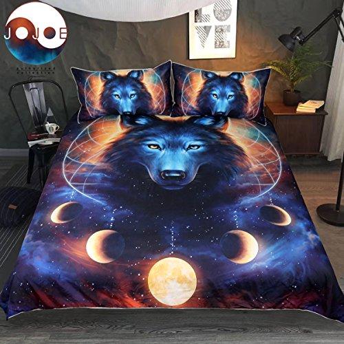 Dream Catcher by JoJoesArt Bedding Set Wolf and Lunar Eclipse Duvet Cover Galaxy Wolf Bedding Teens Kids Celestial Moon Bed Set (Twin)