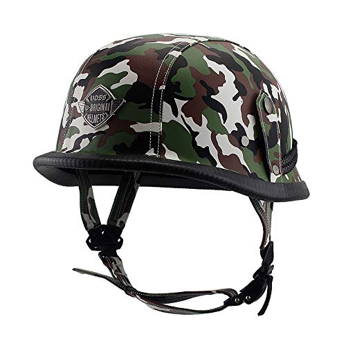 Woljay Leather Motorcycle Goggles Vintage Half Helmets Motorcycle Biker Cruiser Scooter Touring Helmet Camouflage (Green)