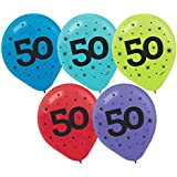 """The Party Continuous 50th Birthday Party Printed Balloon Decoration, Pack of 15, Multi , 12"""" Latex"""