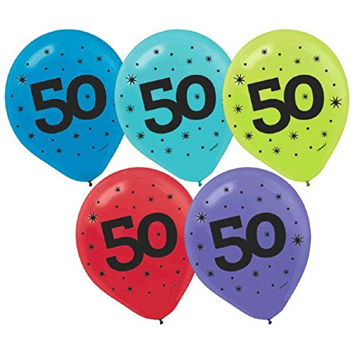 [The Party Continuous 50th Birthday Party Printed Balloon Decoration, Pack of 20, Multi , 12