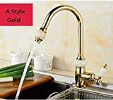 FZHLR 4 Styles Kitchen Pull Out Faucet Gold Brass With Jade Cold And Hot Mixer Tap Sink Faucet Washing Basin Faucet 360 Rotating,Gold A