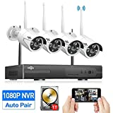 HisEEu 4CH 1080P Wireless Security Camera System with Night Vision(Wireless NVR Kits),4Pcs 960P 1.3MP IP Security Camera Indoor/Outdoor Wireless Cameras, Plug&Play,Easy Remote View,1TB HDD Pre-install