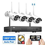 HisEEu 4CH 1080P Wireless Security Camera System Night Vision(Wireless NVR Kits),4Pcs 960P 1.3MP IP Security Camera Indoor/Outdoor Wireless Cameras, Plug&Play,Easy Remote View,1TB HDD Pre-Install