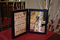 "Pet Memorial 5""x7"" Picture Frame For Dog or Cat With Ribbon and Tag - Features a Folding Photo Frame and Sympathy Poem - Loss of Pet Gift"