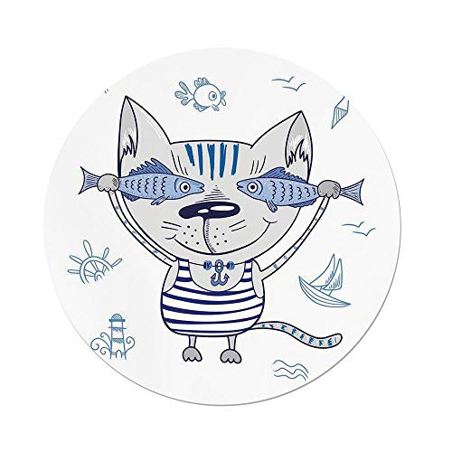 (Polyester Round Tablecloth,Ocean Animal Decor,Naughty Cat with Fish in Striped T shirt Anchor Pendant and Nautical Sign,Blue Grey,Dining Room Kitchen Picnic Table Cloth Cover,for Outdoor)