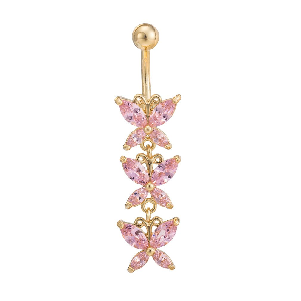 Fashion Women Body Piercing Jewelry 14G Hypoallergenic Stainless Steel Cubic Zirconia Belly Button Ring Navel Rings Crystal Triple Butterfly Dangle Gold With Diamond Light Rose