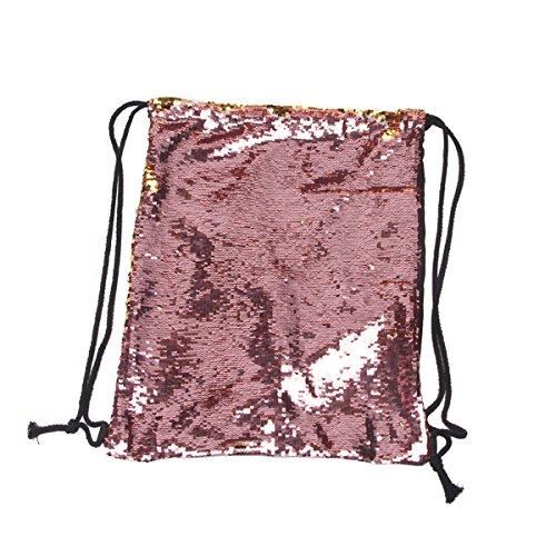 LUOEM Pailletten Tasche Rucksack Sport Tasche Dance Kordelzugbeutel (rosa)