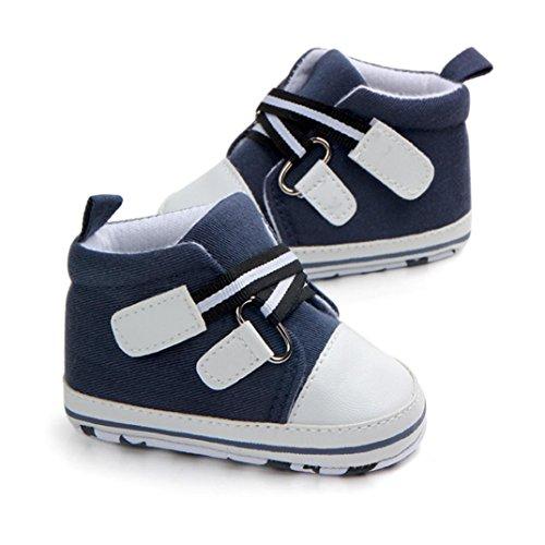 Jamicy® Babyschuhe, Neugeborenes Baby Jungen Mädchen Canvas Anti-Rutsch-Weiche Sohle Schuhe Blau