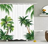 Tropical Shower Curtain by Ambesonne, Coconut Palm Tree Nature Paradise Plants Foliage Leaves Digital Illustration, Fabric Bathroom Decor Set with Hooks, 75 Inches Long, Hunter Green