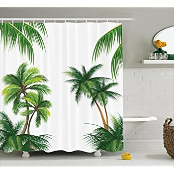 Ambesonne Tropical Shower Curtain Coconut Palm Tree Nature Paradise Plants Foliage Leaves Digital Illustration