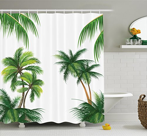 Tropical Shower Curtain by Ambesonne, Coconut Palm Tree Nature Paradise Plants Foliage Leaves Digital Illustration, Fabric Bathroom Decor Set with Hooks, 75 Inches Long, Hunter Green (Palm Tree Bathroom Decor Ideas)
