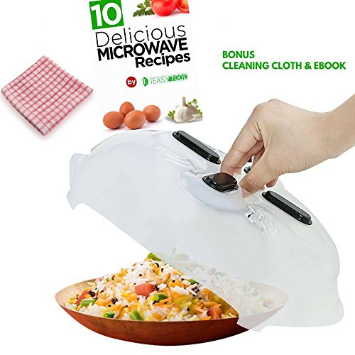 Magnetic Microwave Cover Splatter Plates Food Guard Lid with Steam Vents | Bonus Cleaning Cloth | eBook