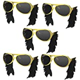 musykrafties Rocker Elvis Inspired Spectacles with Side Burns Party Costume Sunglasses Fun Shades 5-Bundle