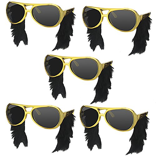 Elvis Presley Sideburns (musykrafties Rocker Elvis Inspired Spectacles with Side Burns Party Costume Sunglasses Fun Shades)