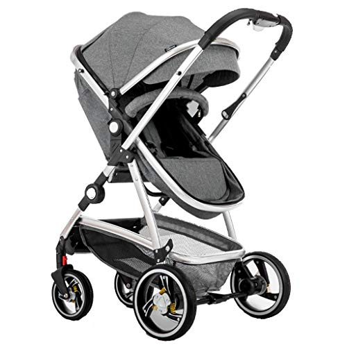 Baby Stroller,2 in 1 Pram and Pushchair, Compact High View Pram,Foldable Buggy with Adjustable Backrest (Color : Gray)