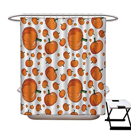 Harvest Mildew Resistant Shower Curtain Liner Halloween Inspired Pattern Vivid Cartoon Style Plump Pumpkins Vegetable No Chemical Odor,Rust Proof Grommets Holes Orange Green White55×72