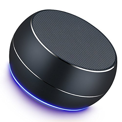 Portable Bluetooth Speakers-Lenrue Mini Wireless Outdoor Rechargeable Speakers with LED,Built-in-Mic,Handsfree Call,AUX Line,TF Card,HD Stereo Sound and Bass for Iphone Ipad Android Phone Grey