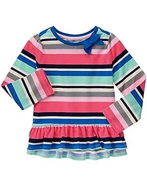 Baby Girls' Multi-Colored Stripe Peplum Tee