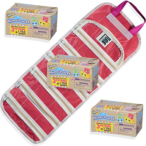 EASYVIEW Season 1 Happy Places Petkins,Shopkin with Compatible Toy Storage Organizer Case Bundle (S1-PK-X3) (Happy One Place)