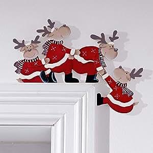 Decoraci n navide a para marco de puerta alces de navidad for Amazon decoracion navidad