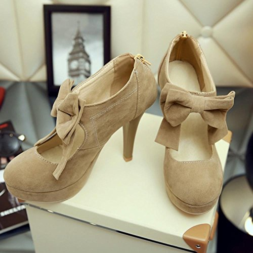 COOLCEPT Mujer Moda Fiesta Court Shoes Tacon De Aguja Plataforma Bootie Bombas Zapatos With Corbata De Mono (45 EU, Apricot)