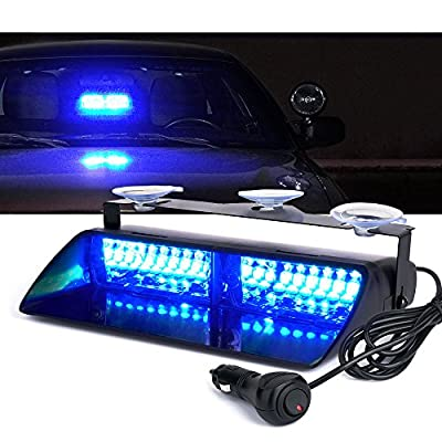Xprite 16 LED High Intensity LED Windshield Emergency Hazard Warning Strobe Lights - Blue: Automotive