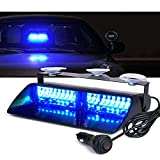 Xprite Blue 16 LED High Intensity LED Law Enforcement Emergency Hazard Warning Strobe Lights For Interior Roof/Dash/Windshield With Suction Cups
