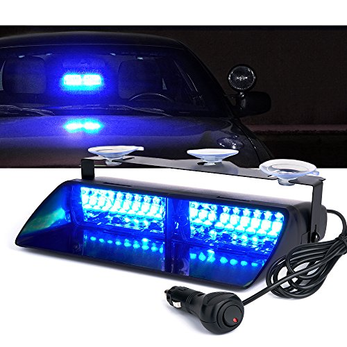 Xprite 16 LED High Intensity LED Law Enforcement Emergency Hazard Warning Strobe Lights For Interior Roof/Dash/Windshield With Suction Cups (Blue) -